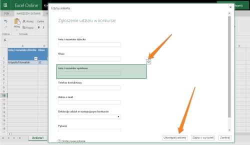 edytowanie pytań w formularzu internetowym