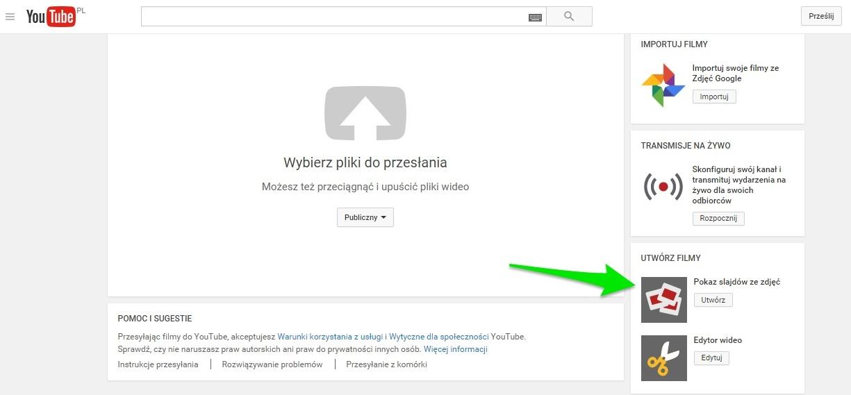 kreator filmów na YouTube